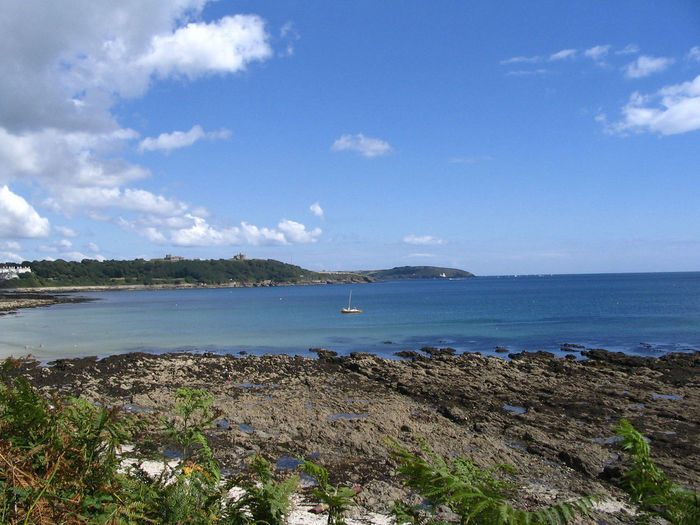 A view from Falmouth bay over the ocean. Blue Sky And Sea Cornwall Beach Cornwall Uk Cornwall Walks Ocean Rocky Beach Seascape_collec Waterscape Photography