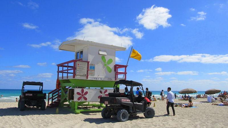Beach Day Lifeguard Hut Miami Beach Outdoors Sand Sea Sky