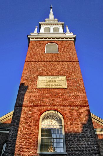 Old North Church Boston Old North Church Architecture Belief Blue Building Building Exterior Built Structure Clear Sky Clock Day Low Angle View Nature No People Place Of Worship Religion Sky Spirituality Tower Travel Destinations Window