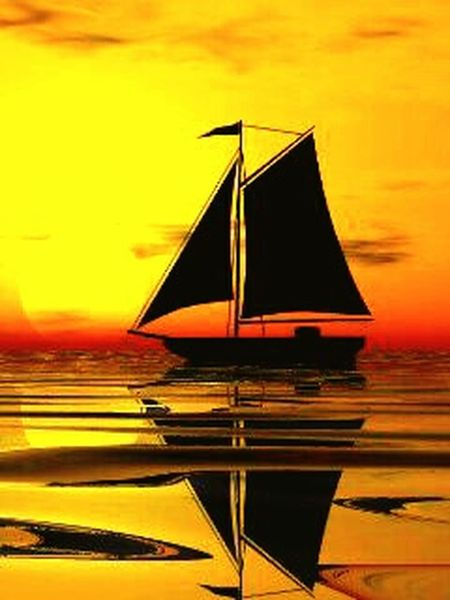 Paint The Town Yellow Sunset Yellow Reflection Sky Gold Colored Cloud - Sky No People Sailboat Sea Water Nautical Vessel Nature Beauty Refraction Sailing Ship Day Outdoors