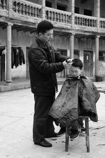 Father And Son Haircut Time Meizhou Traditional Father & Son Haircut Old Fresh On Eyeem  Outdoor Family Time Fatherhood Moments The Portraitist - 2017 EyeEm Awards
