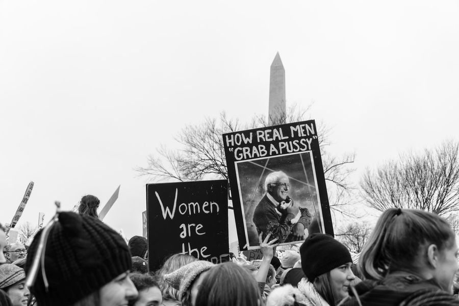 Activism America Anti Day Democracy Demonstration Feel The Bern Fight Protest Revolution Sign Trump USA Washington Washington, D. C. We The People Women Women March Women March On Washington Women's March Black And White Friday