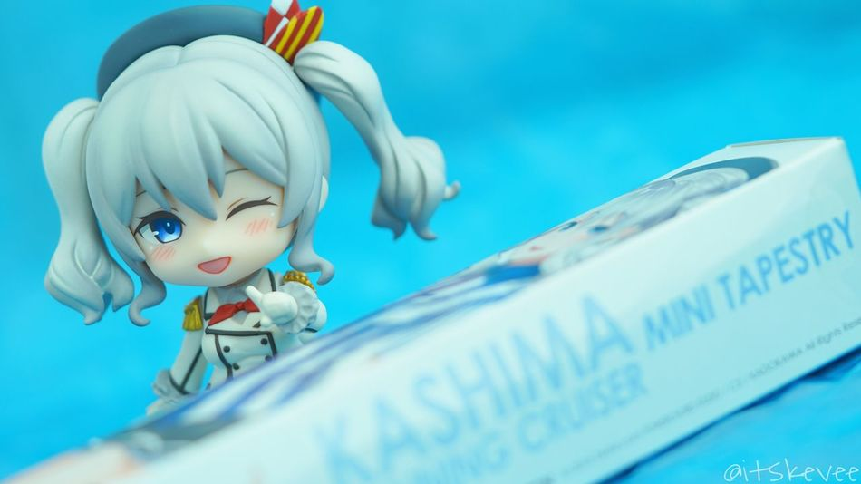 Kashima and her small tapestry Blue Text Close-up Macro Photography Toy Girl EyeEm Best Shots KAWAII Figurine  Indoors  Adorable Macro Nendoroid Sony A6000 Toy Photography Toyphotography Portrait Of A Woman Kashima Kancolle Kantaicollection Portrait