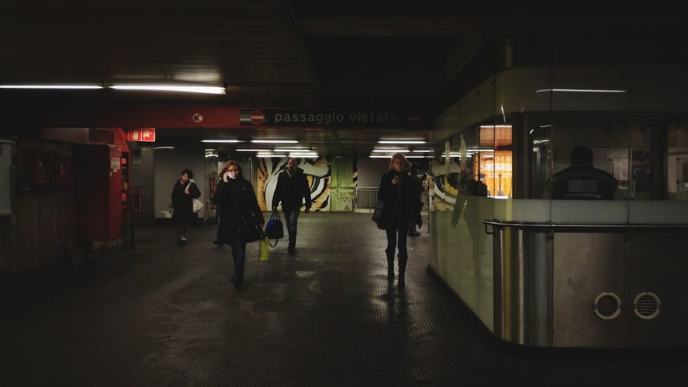 Shot with my Huawei P9 Lite HuaweiP9 Strangers In Transit Street Photography Street Metro Station Underground Station  Streetculture Cityscape Urbanscape Men Full Length City Women Urban Scene Moving Around Rome Stories From The City Visual Creativity Adventures In The City The Street Photographer - 2018 EyeEm Awards HUAWEI Photo Award: After Dark