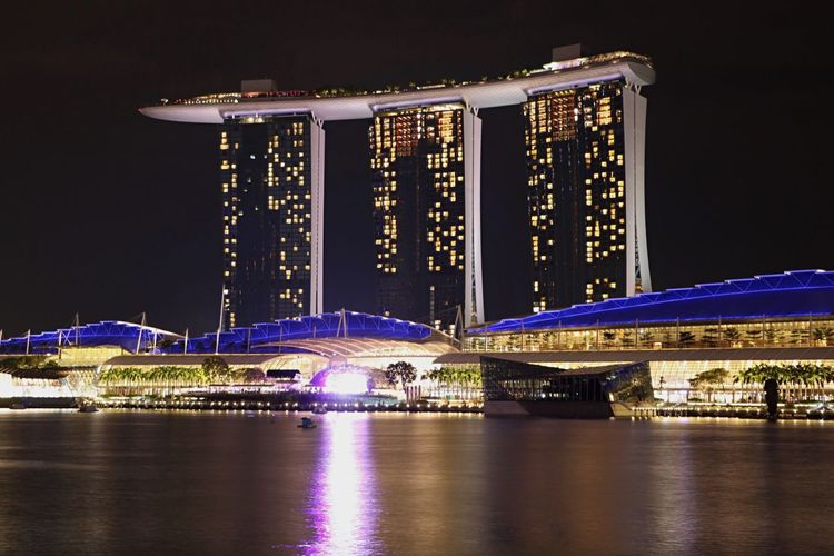 Illuminated Night Architecture Reflection Waterfront Water City Travel Destinations Building Exterior Built Structure Tourism River Sky Outdoors Nautical Vessel Bridge - Man Made Structure Cityscape No People Skyscraper Singapore Singapore View EyeEmNewHere Travel Cityscape Modern Neighborhood Map