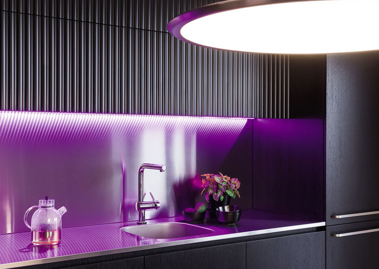 Interior in Zverynas Interior Design Kitchen Tea Lamp Light Fridge Modern Architecture Purple Light Crane Flowers Urban Home Interior Linas Was Here