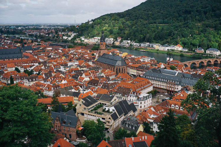 Castle in Old city, Germany Architecture Building Exterior Built Structure City High Angle View Residential District Building Tree Roof Nature Crowded Cityscape Plant Town Mountain Day Outdoors Community TOWNSCAPE Castle Germany Old Buildings Old Town