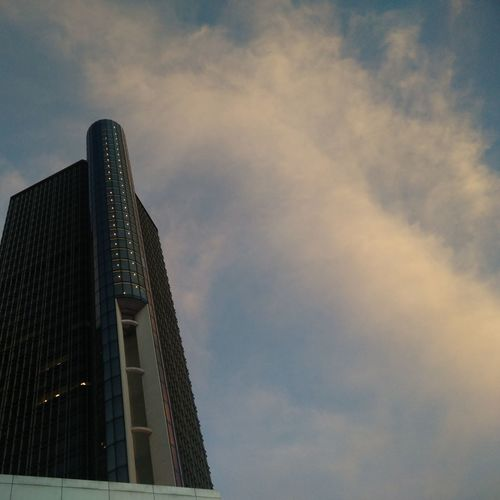 Architecture Skyscraper Built Structure Night Business Finance And Industry Modern City Sunset Outdoors Illuminated Building Exterior No People Urban Skyline Sky Cityscape Nature RenCen Detroit