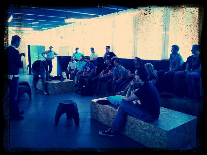 Listening to pitches by startups from the current Wayra batch #poap