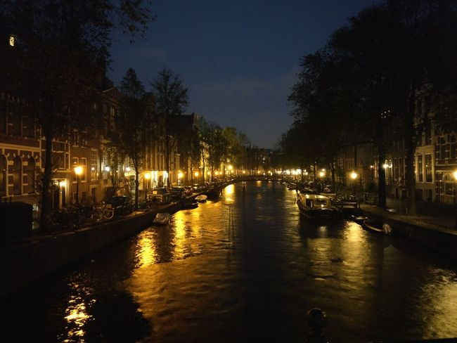 Reflection Night Illuminated Water Sky City Tree Outdoors No People Amsterdam Canal Atmospheric City Lights Old Town