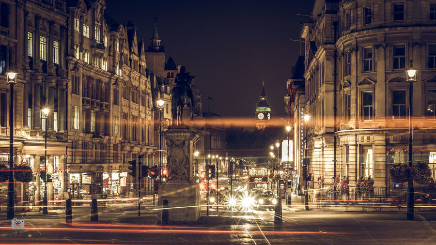 EyeEm LOST IN London Architecture Building Exterior Built Structure City Illuminated Light Trail Long Exposure Motion Night No People Outdoors Road Sky Speed Street Street Light Transportation