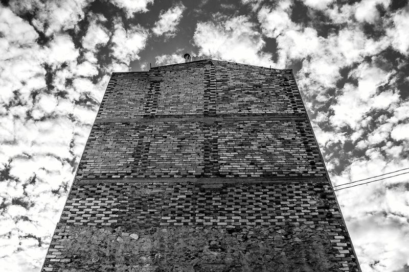Sky And Clouds Clouds Looking Up Fine Art Photography Clouds And Sky Artistic Photography Urban Art Street Art Perspective Point Of View Artistic Photo Urban Urban Geometry Building Building Exterior Buildings & Sky Building And Sky Brick Wall Brick Bricks Brick Building Wall Wall Art Wall - Building Feature Black And White