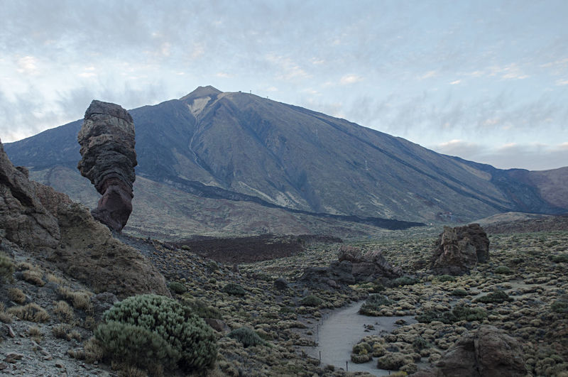 Scenic view of arid landscape against sky teide