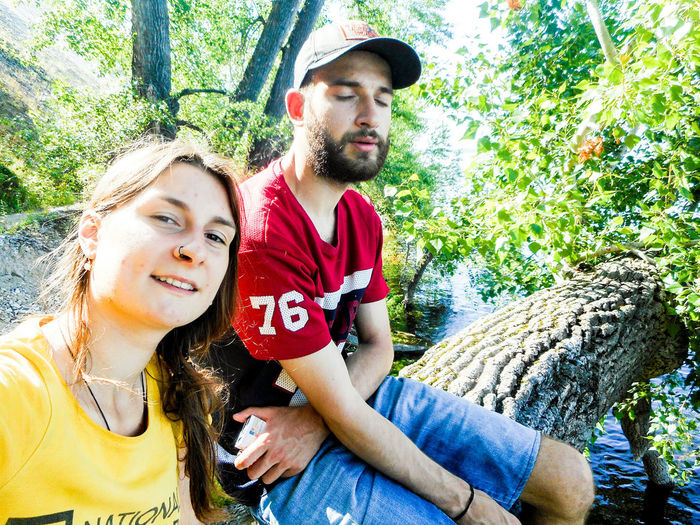 Smiling Portrait Day Togetherness Outdoors Happiness Young Adult Friendship Bonding Looking At Camera Beard Young Women Tree Nature People Adult Adults Only EyeEmNewHere The Week On EyeEm