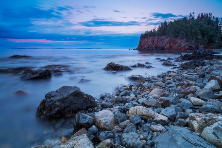 Tranquility Tranquil Scene Scenics - Nature Long Exposure Rocky Coastline Horizon Over Water Sea Rocky Beach Silky Water Maine Coast Of Maine Rocklands Sunset Over The Sea Serenity Stones & Water Stones And Pebbles Beach Beauty In Nature