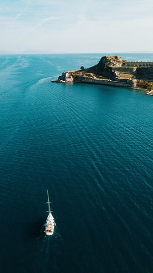 Greece, Korda Yacht Nature Land Day Travel Blue No People Outdoors Tranquil Scene Sky Tranquility High Angle View Horizon Over Water Idyllic