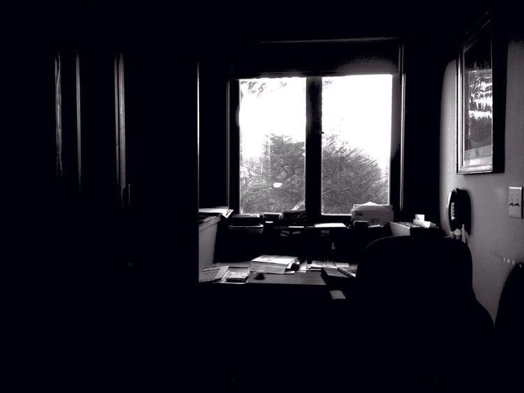 Messy Desk Taking Photos Blackandwhite Window