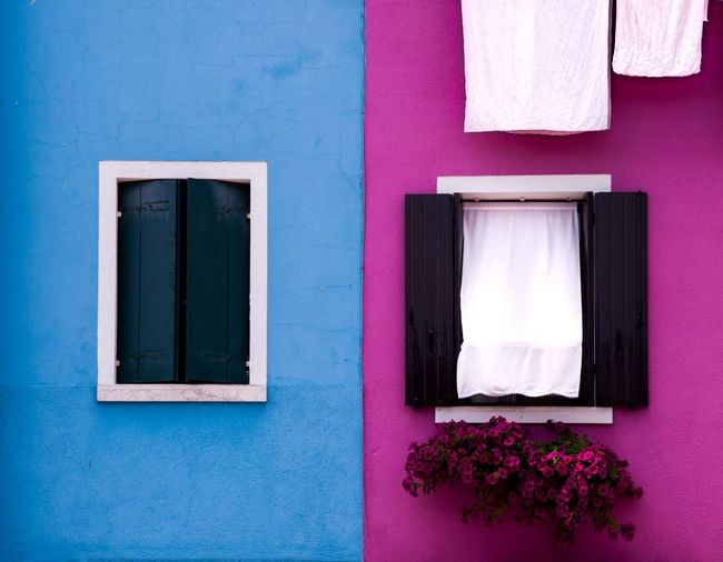 EyeEm Selects Flower Multi Colored Window Purple Architecture Close-up Building Exterior Built Structure Whitewashed Pastel Colored Magenta Light Blue Blooming Façade Place Of Interest Rectangle