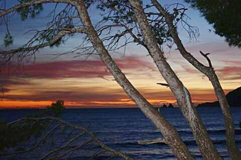 À ce moment, la brillante lumière du soleil tomba dans l'Océan, entraînant la nuit noire sur la terre. Orange Color Red Sky Sea And Sky Photography