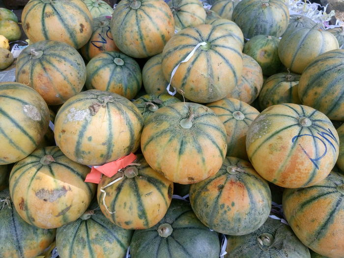 High angle view of fresh muskmelons for sale in market