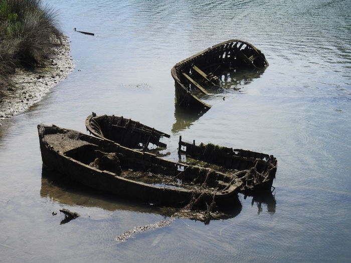 Abandoned Boat Skeleton Damaged Death & Decay Decrepit Nature No People Outdoors Sea Sunken Water