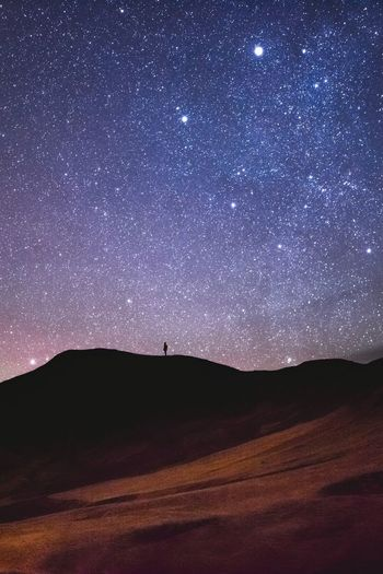 Stargazing Star - Space Nature Scenics Mountain Sky Beauty In Nature Outdoors Landscape Tranquility Night Astronomy One Person Space Galaxy One Man Only Milky Way People