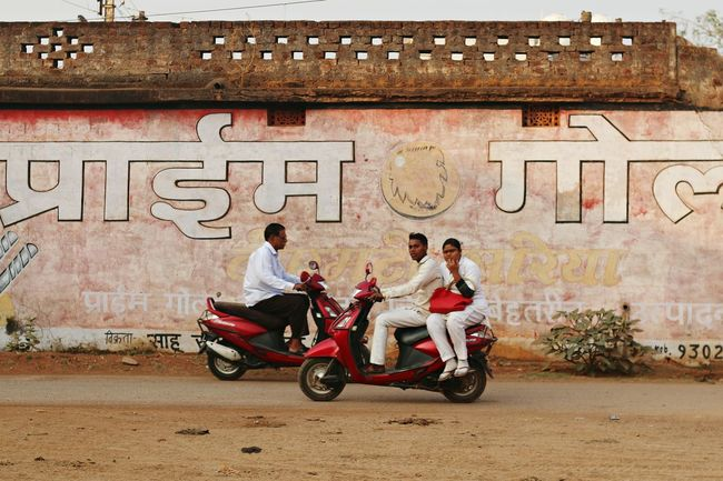 Motorcycle Transportation Riding Full Length Mode Of Transport Adventure Togetherness Friendship India Bhilai Chattisgarh Street Art Painted Wall Bike Motorbike Motorbikes City Transportation An Eye For Travel Mobility In Mega Cities Adventures In The City The Street Photographer - 2018 EyeEm Awards The Street Photographer - 2018 EyeEm Awards