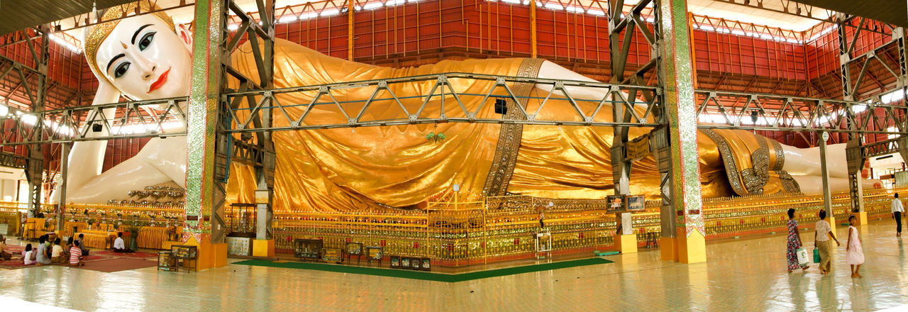 Buddha Pagoda Statue Yangon Architecture Buddhism Built Structure Burma Chaukhtatgyi Day Gold Gold Colored Indoors  Myanmar No People Prying Temple