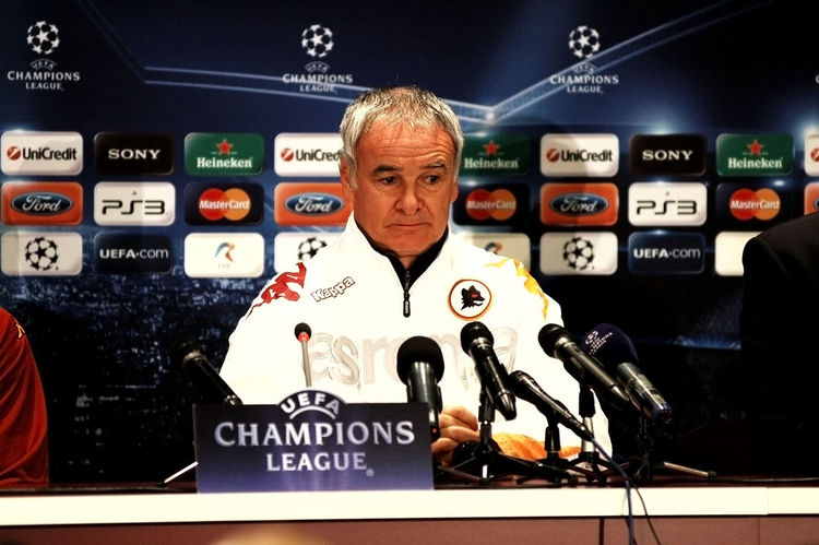 The head coach of AS Roma, Claudio Ranieri answering questions during a press conference before UEFA CL game against CFR 1907 Cluj on December 7, 2010 in Cluj-Napoca, Romania CFR Cluj Champions League Claudio Ranieri Coach Football Football Fever Interview Press UEFA As Roma Communication Conference Room Indoors  Italian Manager Match Media Microphone One Person People Press Conference Press Conference Room Real People Soccer Uefachampionsleague