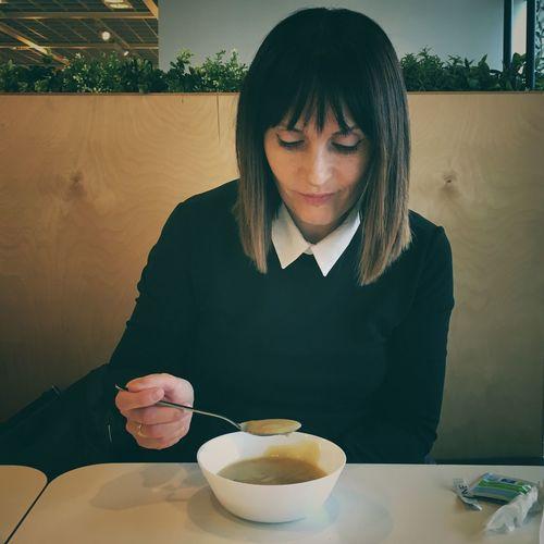 Woman Having Food At Home