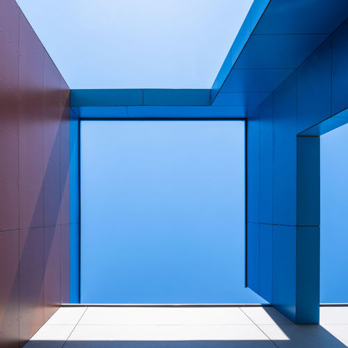 Abstractarchitecture Abstract Architectural Detail Architectural Feature Architecture Berlinmalism Blue Building Building Exterior Built Structure Clear Sky Copy Space Directly Below Fujix_berlin Geometric Shape Minimal Minimalism Modern Outdoors Pattern Ralfpollack_fotografie Wall - Building Feature The Architect - 2018 EyeEm Awards A New Perspective On Life