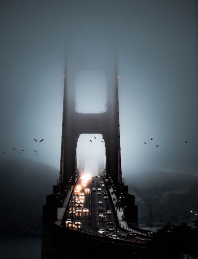 Golden gate mood Travel Cloud - Sky Sky And Clouds Birds Moody Sky Bridge Cityscape California Cold City Mood Clean Drone  Golden Gate