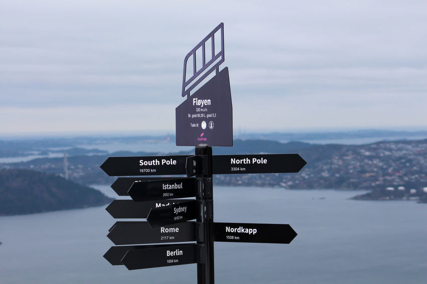 Bergen Bergen,Norway Norway Sign Travel World Heritage Around Cloud - Sky Communication Direction Follow Landscape Nature No People Outdoors Sky Water Way World