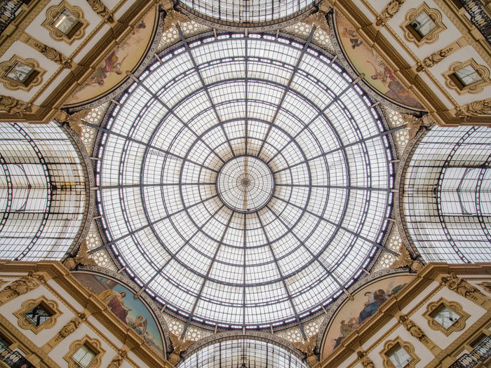 Architecture Ceiling Dome Built Structure Indoors  Pattern Low Angle View Cupola No People The Past Architectural Feature Art And Craft History Directly Below Geometric Shape Ornate Travel Destinations Arch Architecture And Art Skylight Mural Fresco Mediolan Italy Gallery
