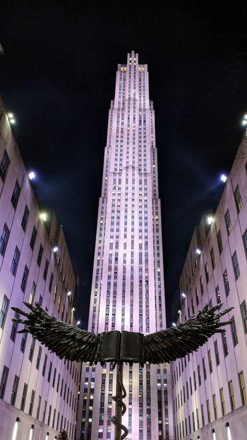Rockefeller Center in New York Rockefeller Center New York New York City Nightphotography Night Photography Wings Angel Wings Travel Travel Photography Good Times Followme Pixelxl2