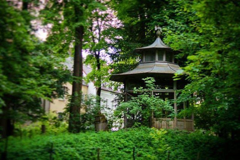 Beautiful Small Secluded  Chinese Hut . Found in a Park near the Pfaffenstein Bridge . Regensburg Germany Deutschland . Taken by my Sonyalpha DSLR Dslt A57 . كوخ صيني حديقة ريجنزبرغ المانيا
