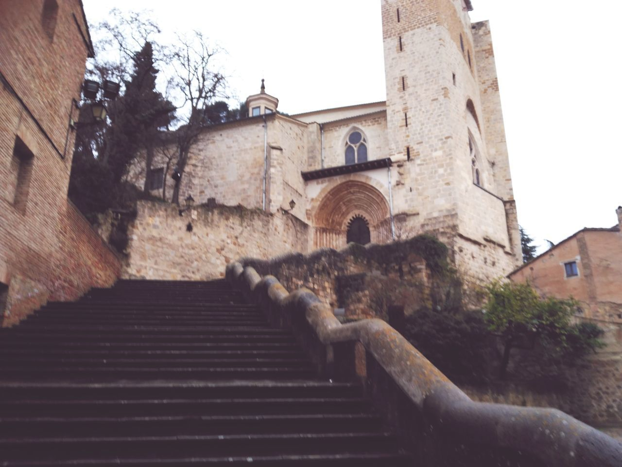 architecture, built structure, building exterior, steps, staircase, steps and staircases, no people, low angle view, castle, history, day, tree, outdoors, place of worship, sky, tiled roof