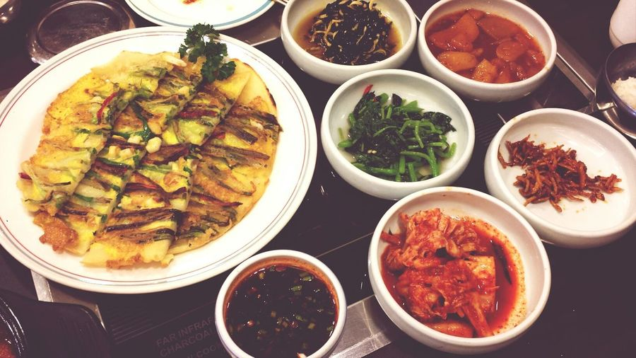 Korean side dishes and fried onion pan cake. Korean Food Eating TheBreadeats Kimchi