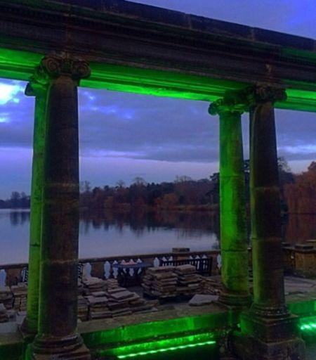 Green Color Cloud - Sky Illuminated Day Pillar Outdoors Nature