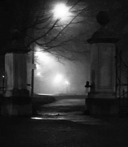 It beckons. Night Fog Illuminated Architecture Built Structure Building Exterior No People Outdoors Midnight Urban Urban Landscape Park Eerie Atmospheric Mood