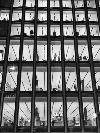 No rest for the wicked Blackandwhite Banking Frankfurt Am Main IPhoneography Architecture Full Frame Built Structure Indoors  Backgrounds Day Window Modern Building Exterior Low Angle View Cityscape City No People Sky Skyscraper