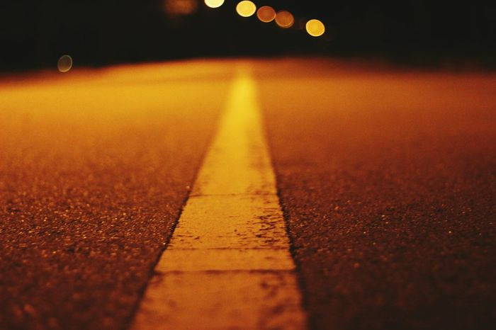 Long Road To Nowhere. Minimalism Minimal Roads Bokeh Nightphotography Roadside