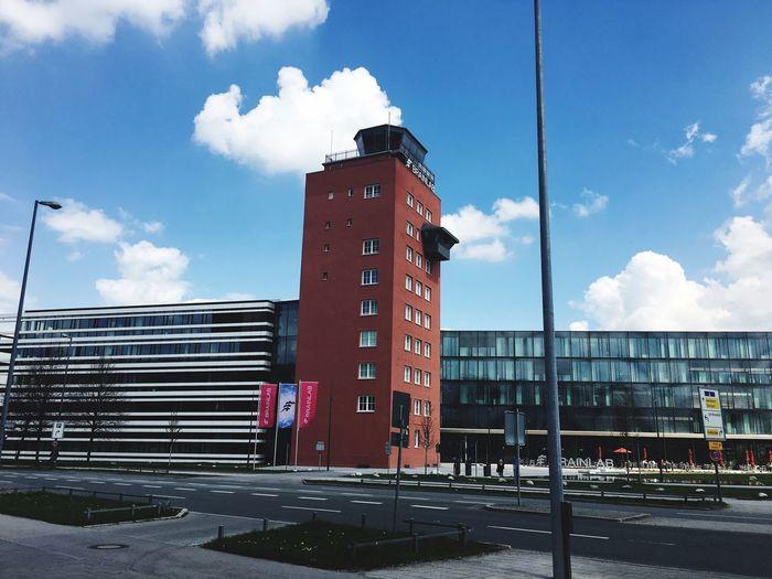 München alter Flughafen Riem BrainLAB Airport Tower Airport Cloud - Sky Sky Architecture Built Structure Building Exterior Text Nature