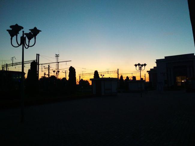 Sunrise Railstation City Silhouette Sky Architecture