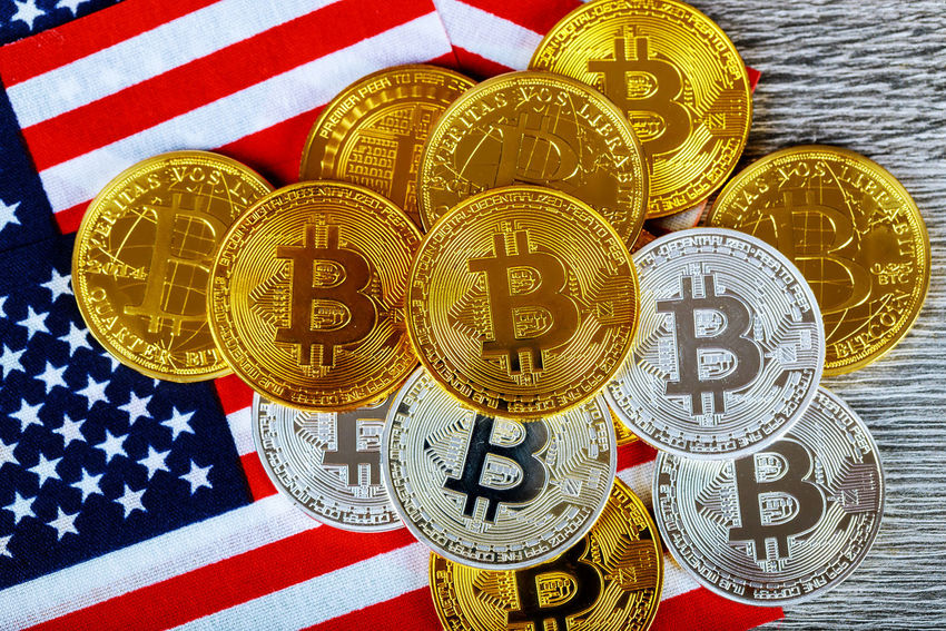 Coin bitcoin on the American flag and abstract background American American Flag Business Currency E-commerce Market USA Banking Bitcoins Blockchain Technology Close-up Coin Cryptocurrency Cryptography Currency Digital Exchange Finance Finance And Economy Financial Money Payment In Cash Red Still Life Trade