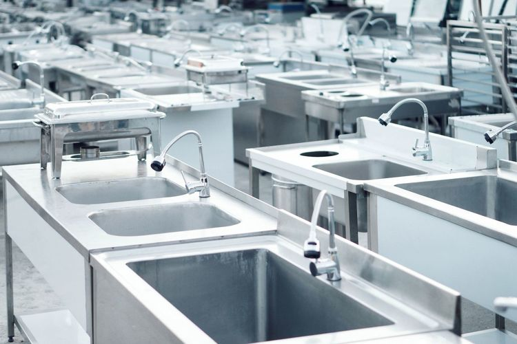 High angle view of kitchen sinks
