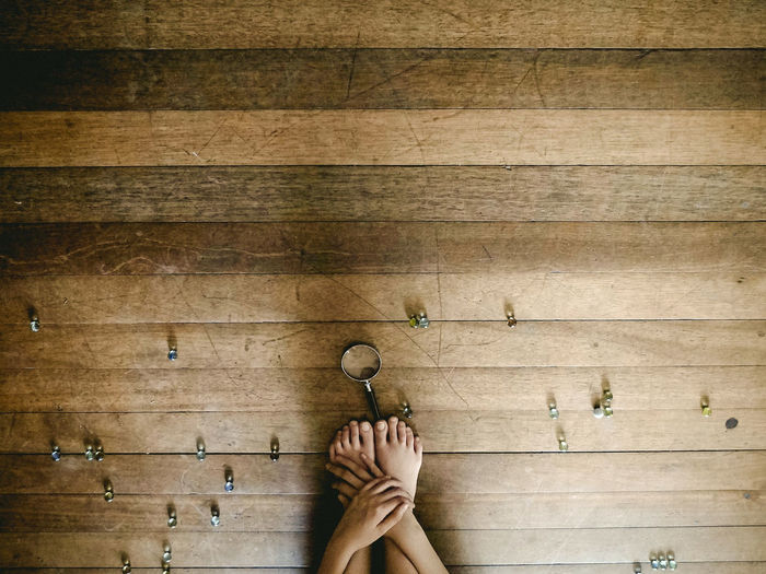 Untitled Composition Conceptual Foot Hands Life Magnifying Glass Marbles Wooden Floor