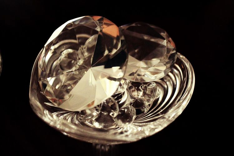 Close-up of crystal ball against black background