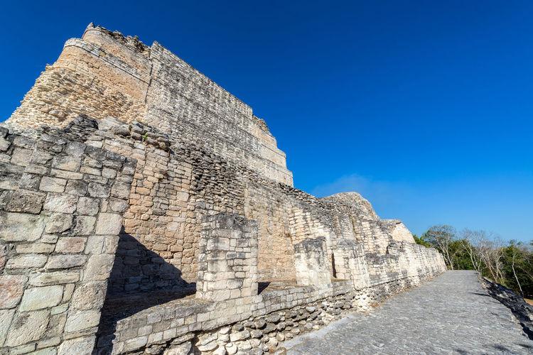 Mayan Ruins At Becan On Sunny Day