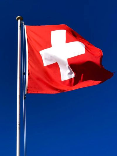 Swiss flag White Cross White Red Swiss Red Blue Flag Patriotism White Color Clear Sky No People Sky Copy Space Textile Nature Low Angle View Single Object Emotion Wind Maple Leaf Close-up Blue Background Blank My Best Photo
